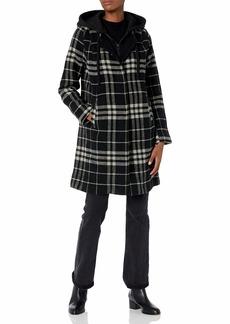 RACHEL Rachel Roy Women's Wool Plaid Coat with Solid Hood and Bib  M