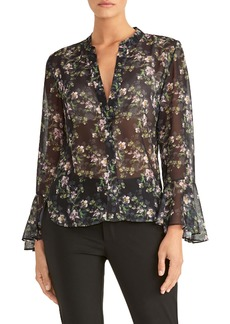 Rachel Roy Collection Floral Print Ruffle Sleeve Blouse