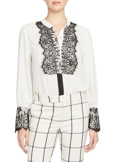 Rachel Roy Collection Lace Detail Georgette Blouse