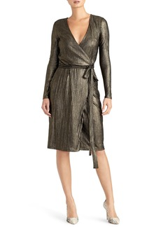 Rachel Roy Collection Pleated Metallic Wrap Dress