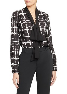 Rachel Roy Collection Print Grid Bow Blouse