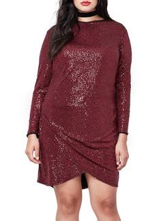 Rachel Roy Draped Hem Sequin Body-Con Dress (Plus Size)