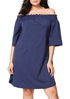 Rachel Roy Off the Shoulder Stripe Dress (Plus Size)