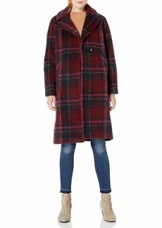 Rachel Roy Women's Plaid Notch Collar Wool Coat  XL