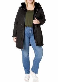 Rachel Roy Women's Reversible Cotton to Fur Jacket  L