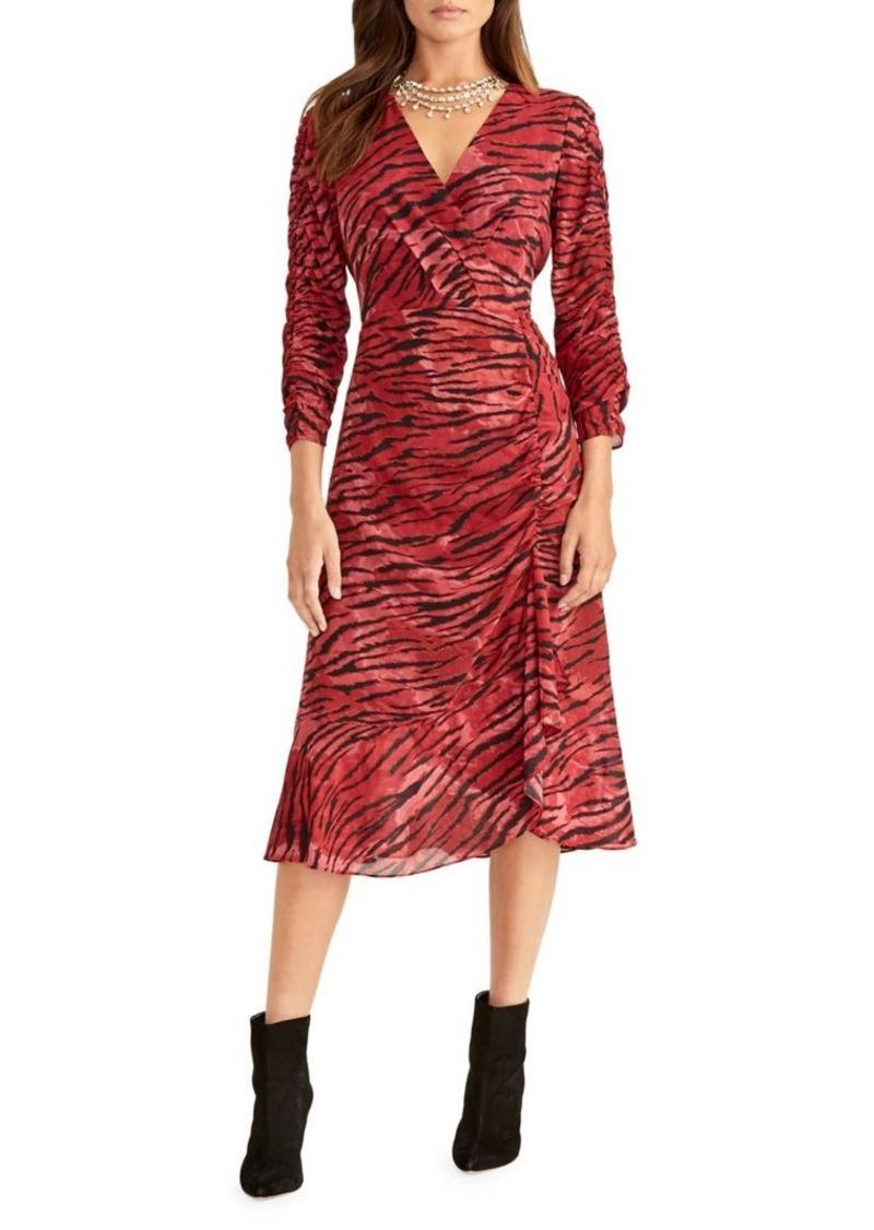 RACHEL Rachel Roy Zebra-Print Ruched Knee-Length Dress