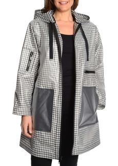 Rachel Roy Rubberized Gingham Raincoat