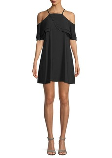 Rachel Roy Ruffled Cold Shoulder Trapeze Dress