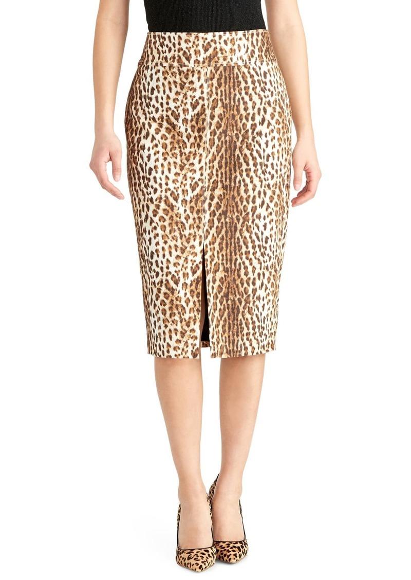 Rachel Roy Slit Leopard Print Pencil Skirt