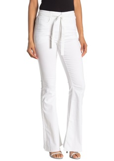 Rachel Roy Solid Belted Flared Leg Jeans