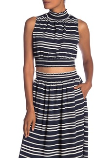 Rachel Roy Sunset Striped Mock Neck Crop Top