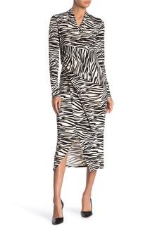 Rachel Roy Surplice V-neck Long Sleeve Zebra Print Dress