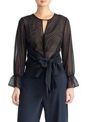 Rachel Roy Swiss Dot Tie Blouse