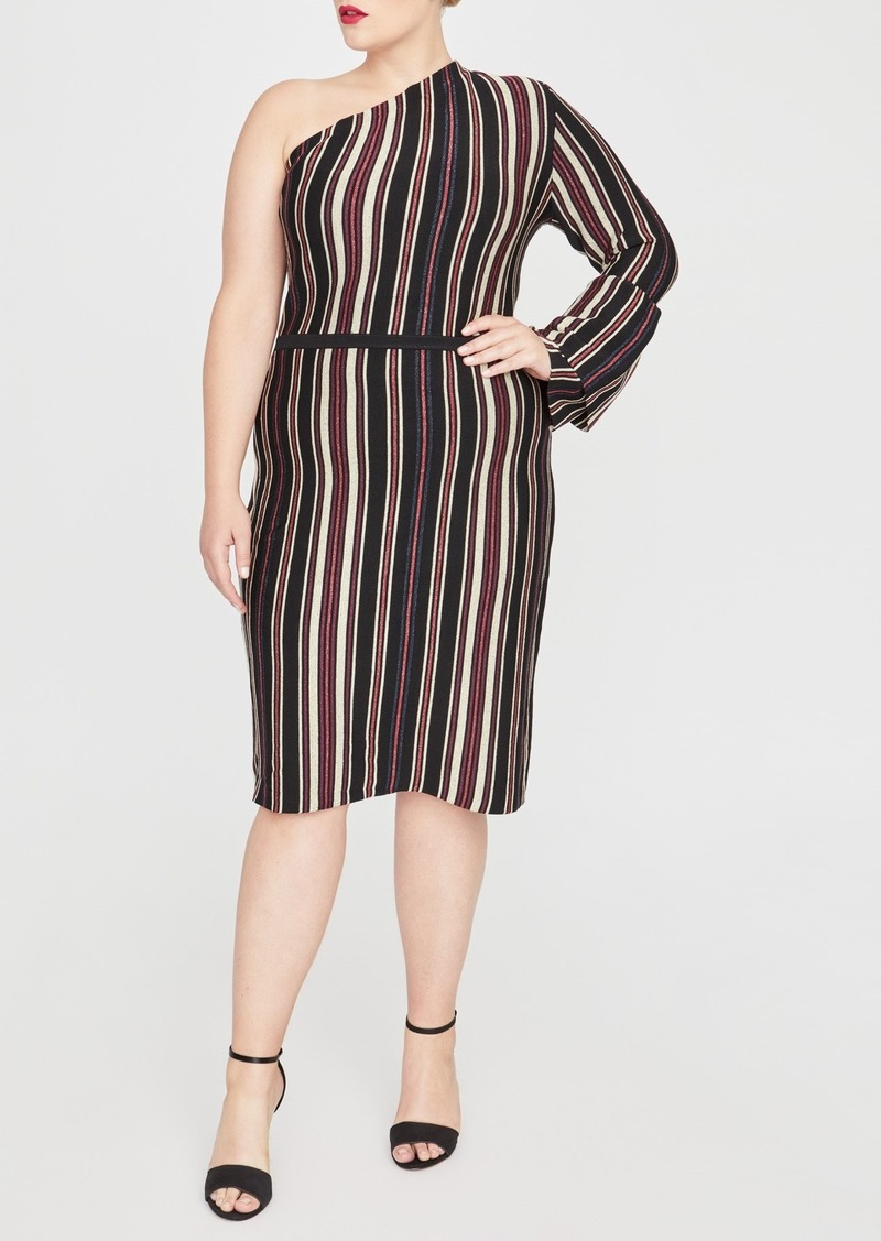 Rachel Roy Tenley Stripe One-Shoulder Bell Sleeve Dress (Plus Size)