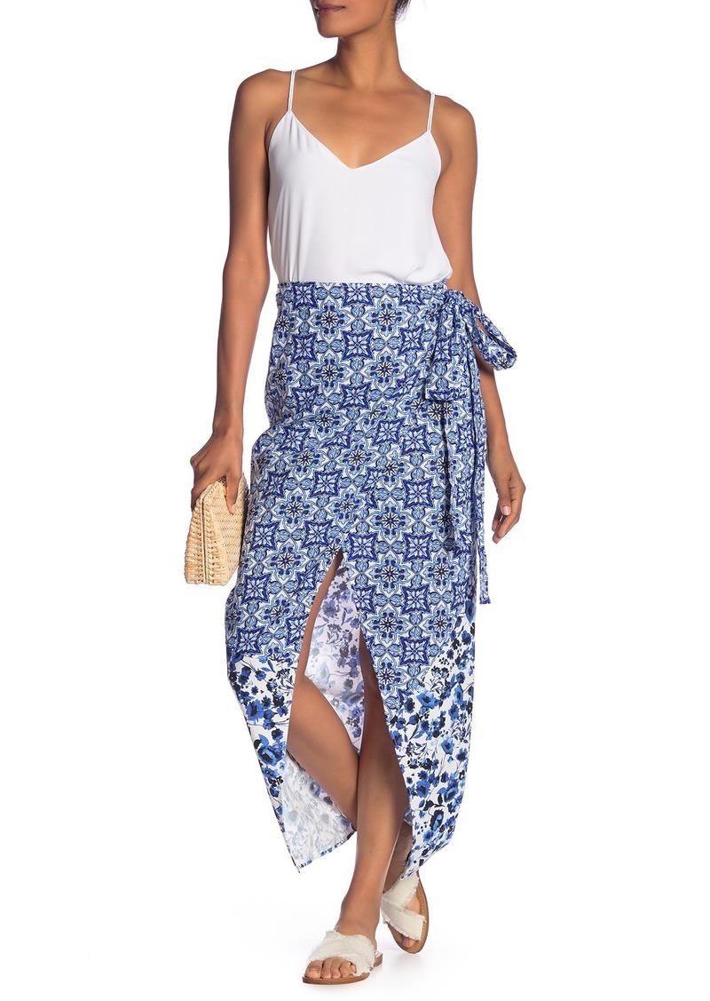 Rachel Roy Tile Linen Blend Wrap Skirt