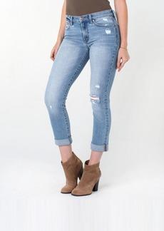 Rachel Roy Women's Roll Cuff Girlfriend Jeans with Destructed Knee