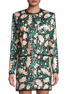 Rachel Zoe Abbie Print Sequin Collarless Jacket