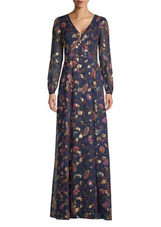 Rachel Zoe Annabel Metallic Floral Maxi Dress