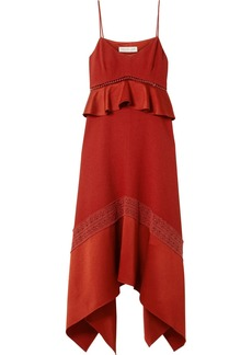 Rachel Zoe Astrid Crochet And Satin-trimmed Crepe Midi Dress