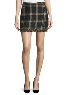 Rachel Zoe Bex Metallic Plaid Fringed Miniskirt