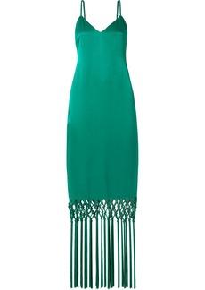 Rachel Zoe Chantelle Macramé-trimmed Satin Maxi Dress