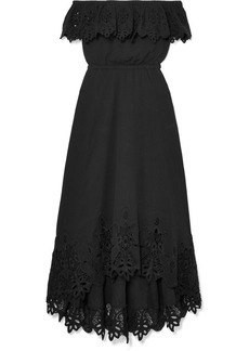 Rachel Zoe Cleo Off-the-shoulder Broderie Anglaise Crinkled-cotton Dress