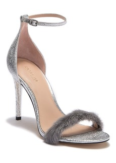 Rachel Zoe Everly Genuine Dyed Mink Fur Leather Ankle Strap Sandal