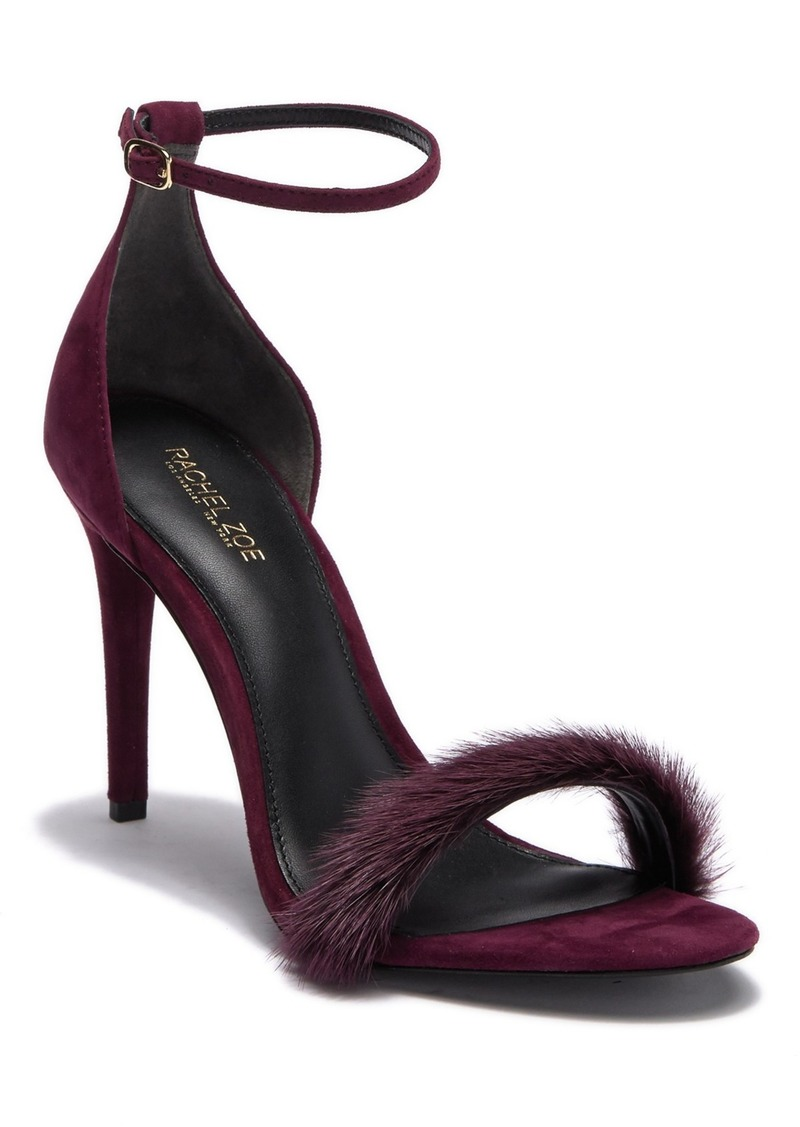 Rachel Zoe Everyly Genuine Dyed Mink Fur Suede Ankle Strap Sandal