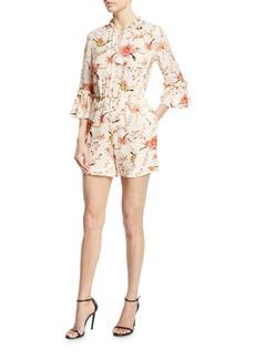 Rachel Zoe Grace Open-Back Floral Silk Romper