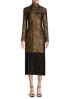Rachel Zoe Hunter Fringe Jacquard Midi Dress
