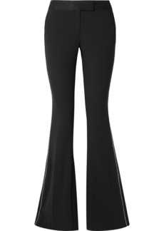 Rachel Zoe Jagger Crystal-embellished Satin-trimmed Crepe Flared Pants