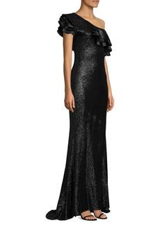Rachel Zoe Jaz Sequin One-Shoulder Ruffle Gown