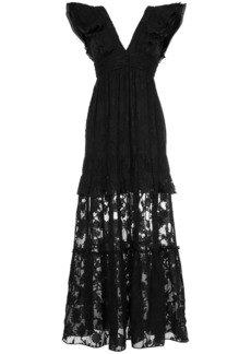 Rachel Zoe long V-neck lace dress