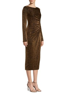 Rachel Zoe Lovey Ruched Metallic Sheath Dress