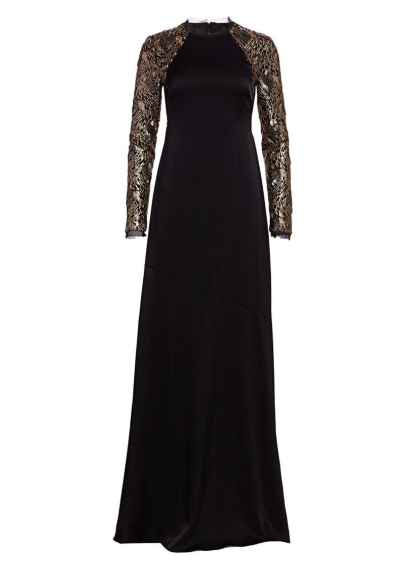 Miabella Sequin Long-Sleeve A-Line Gown