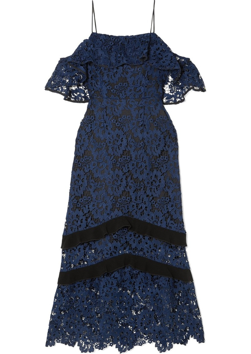 Rachel Zoe Poppy Cold-shoulder Guipure Lace Midi Dress