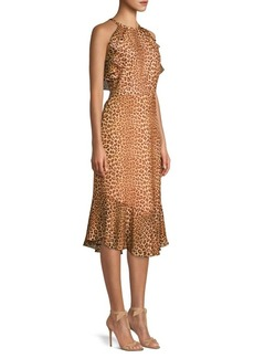 Rachel Zoe Posie Leopard Ruffled Flounce Silk Sheath Dress