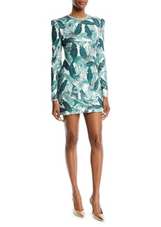 Rachel Zoe Amelia Sequin Palm-Print Open-Back Mini Dress