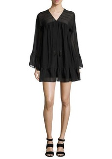 Rachel Zoe Anita Bell-Sleeve Silk Mini Dress