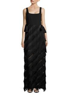 Rachel Zoe Asymmetrical Striped Sleeveless Column Dress