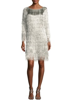 Rachel Zoe Ballina Boat-Neck Metallic Fringe Cocktail Dress