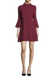 Rachel Zoe Califa Mock-Neck Bell-Sleeve Crepe Mini Dress