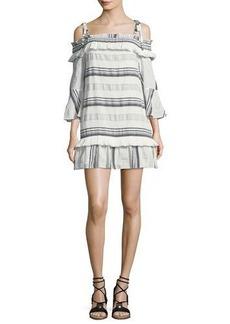 Rachel Zoe Covie Striped Cold-Shoulder Cotton Dress