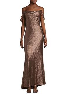 Rachel Zoe Crisscross Cold-Shoulder Gown