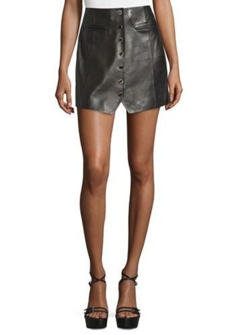 Rachel Zoe Danae Leather Button-Front Miniskirt