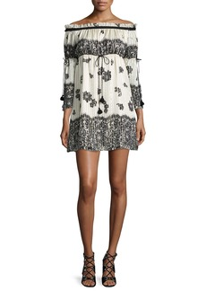 Rachel Zoe Danica Off-the-Shoulder Lace-Print Babydoll Dress