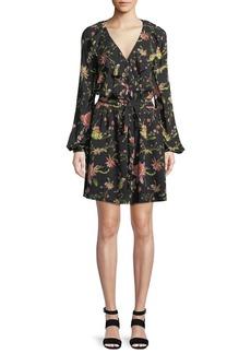 Rachel Zoe Drea Floral-Print Long-Sleeve Mini Dress