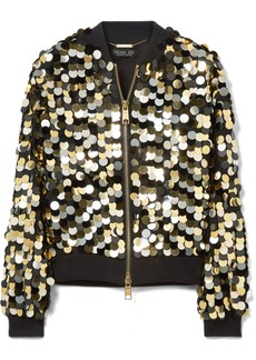 Rachel Zoe Emilia ribbed-jersey trimmed sequined crepe bomber jacket