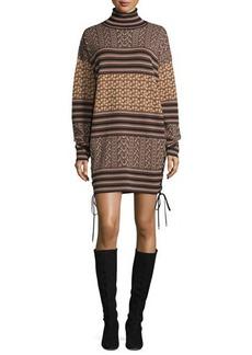 Rachel Zoe Fran Mixed-Pattern Turtleneck Sweaterdress