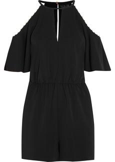 Rachel Zoe Gemini embellished cold-shoulder stretch-crepe playsuit